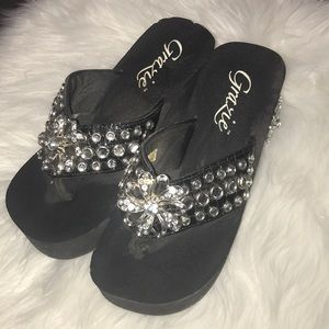 Shoes - Black bling wedges size 6